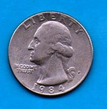 1984 P Washington Quarter - Circulated - About XF - $0.25