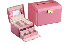 Pink Large-capacity leather jewelry box, three-layer jewelry box - $59.95