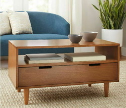 Coffee Tables Storage Mid Century Modern Living Room Furniture Decor Woo... - $206.97