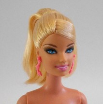 Fashion Fever Barbie Blonde Ponytail Pink Earrings Hybrid Doll - $17.81