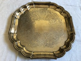 "Newport Silver Plated 13""x13"" Serving Tray scalloped square - $46.04"