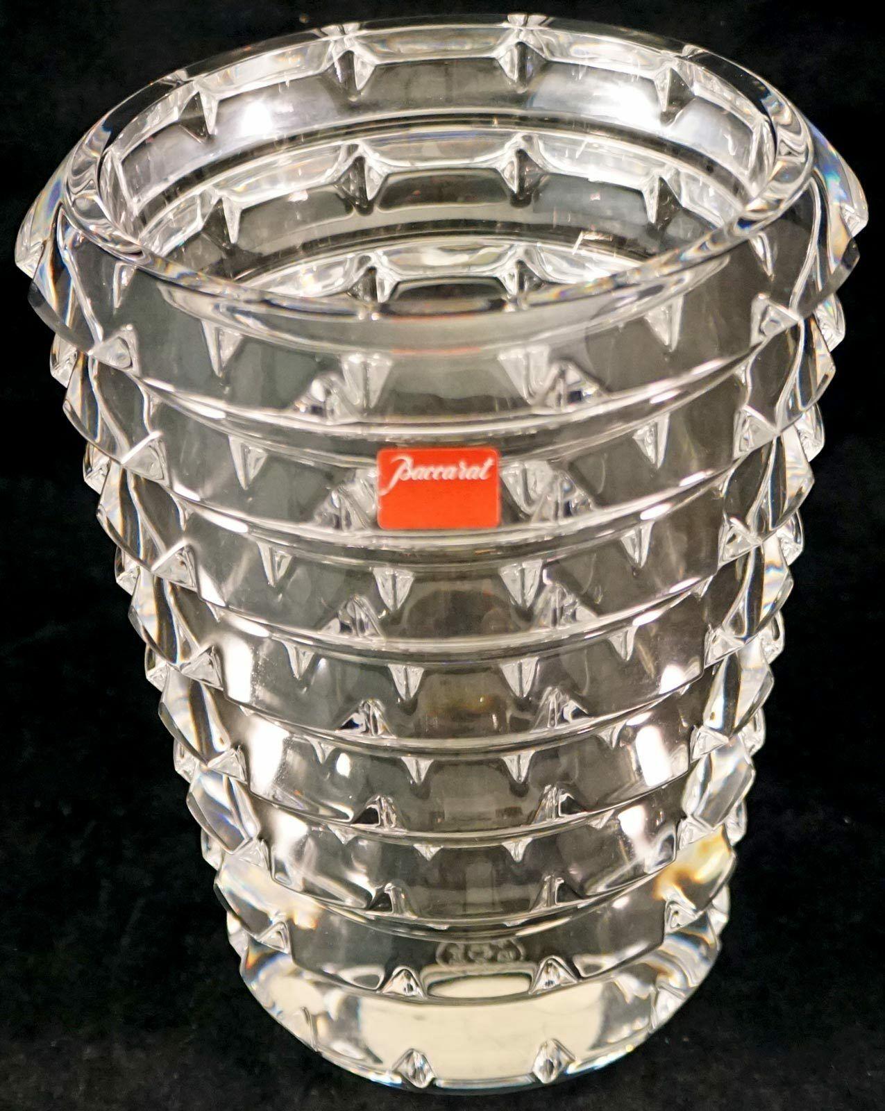 Baccarat Crystal Arlequin Vase Lovely Modern Pattern Marked - $475.00