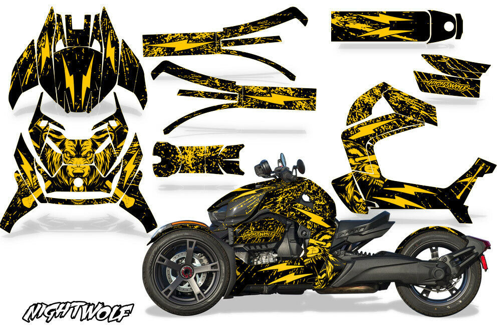 Full Body Wrap Graphic Sticker Decal for Can-Am Ryker 2019 - Nightwolf Yellow