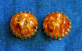 "Elegant Faux Amber Acrylic Gold-tone Clip Earrings 1960s vintage 7/8"" - $12.30"