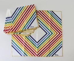 6 Vera Neumann Cotton Napkins Rainbow Stripes Diamond Mid Century - $28.93