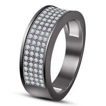 Round Cut White CZ 10k Black Gold Finish Pure 925 Silver Men's Band Wedd... - $97.89
