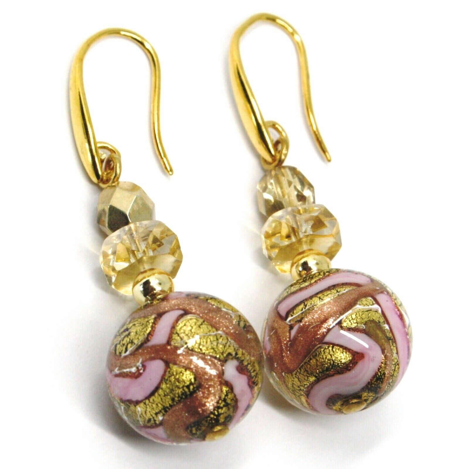 PENDANT EARRINGS PINK STRIPED MURANO GLASS SPHERE & GOLD LEAF, MADE IN ITALY