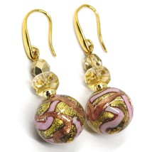 PENDANT EARRINGS PINK STRIPED MURANO GLASS SPHERE & GOLD LEAF, MADE IN ITALY image 1