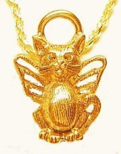 NICE New Guardian Angel cat kitten charm Gold plated Jewelry