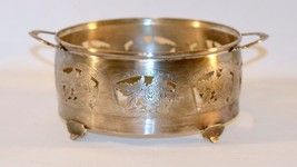 Vintage Mid-Century Silver Plated  Filigree Bowl holder with Handle - $11.88
