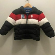U.S. Polo Assn. 5/6 red white blue hooded puffer jacket youth - $27.44