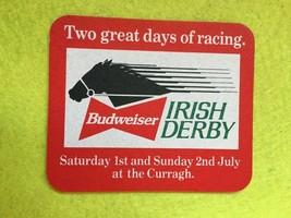 Oblong Beer Mat Coaster - Two Sided - Irish Derby Budweiser (FF127) - $5.60