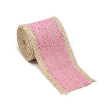 """AK-Trading 2.5"""" Wide x 10 Yards Long Natural Burlap Craft Ribbon with Lace (Jute - $16.78"""