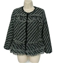 Ann Taylor Womens Tweed Blazer Jacket Boucle Size 8P Black White Fringe - $39.60