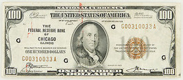 1929 BILL NAZIONALE Currency Federal Reserve Bank of Chicago - $318.69