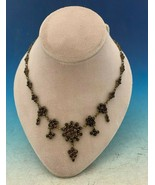 Genuine Natural Bohemian Garnet Necklace Dainty with Five Drops (#J5243) - $643.50