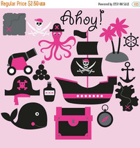 Pirates clipart for girls, pirate, clipart, octopus, whale, ship, skull,... - $2.25