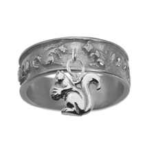 925 Sterling Silver 3D moveable Squirrel Family Ring Band Nature Jewelry... - $30.26
