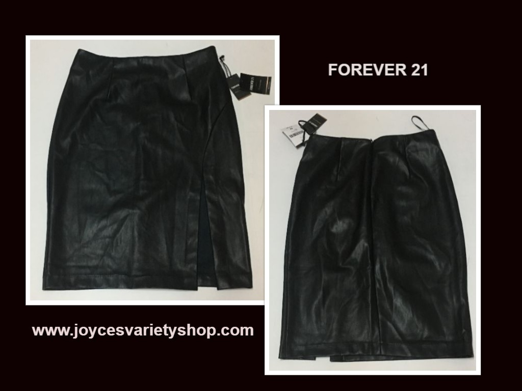 Forever 21 black leather skirt web collage
