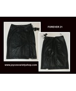 Forever 21 Black Faux Leather Skirt Sz M Contemporary Knee Length - $14.99