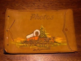 Antique Leather Photo Album Los Angeles California Covered Wagon Good Co... - $16.00