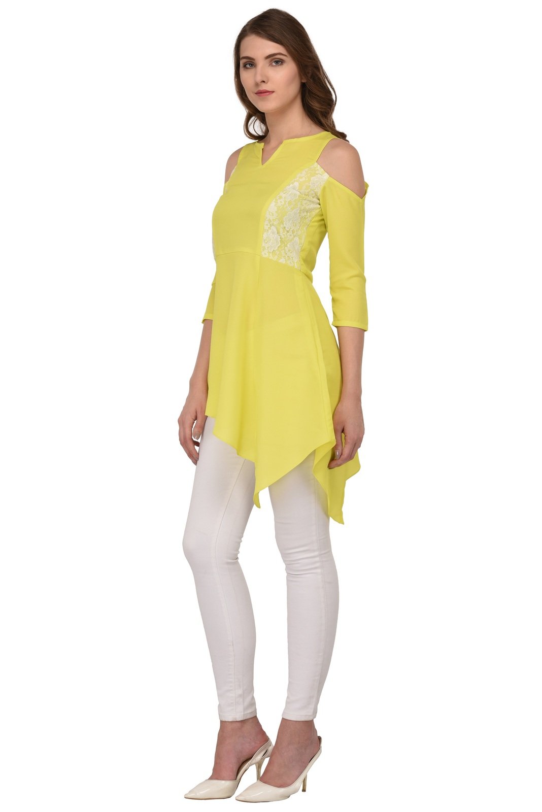 Tunics for women Moss Tunics Crepe Lime Green Cold Shoulder top Christmas gifts image 3