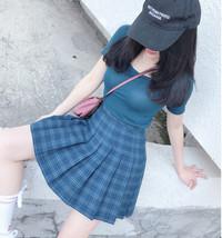Women Girls Green Plaid Skirt Plus Size Pleated Plaid Skirt Pleated Tennis Skirt image 3