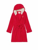 Victoria's Secret Pink Sherpa Lined Cozy Soft Plush Short Robe Red-Small NWT - $54.28