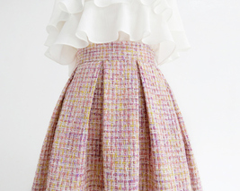 Pink Winter Tweed Skirt A-line High Waisted Pink Midi Tweed Skirt image 3