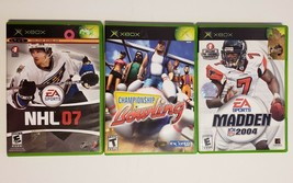 MICROSOFT XBOX - Lot of 3 Sport Madden 2004 NHL 07 & Bowling Games image 1