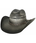 Bullhide Raising Sand Bangora Straw Cowboy Hat Horsehair Band Black Natu... - €62,41 EUR