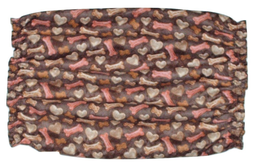 Brown Hearts and Bones Dog Treats Cotton Dog Snood by Howlin Hounds Size XL