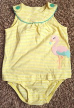 Girl's Size 18m 12-18 Months Yellow Flamingo Embroidered Carter's Romper  - $12.00