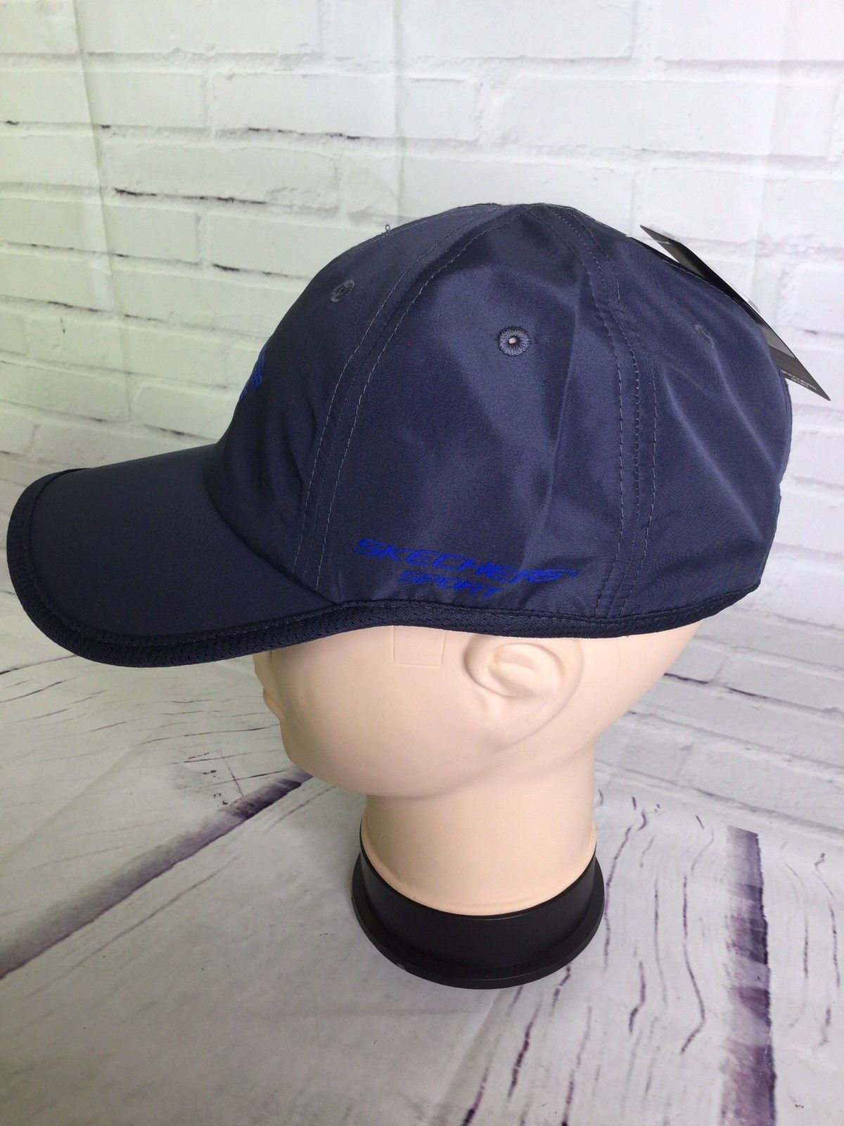 Skechers Sport Hat Cap Blue Gray Strapback Logo Stretch Fit One Size Fits All