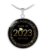 Class of 2023 Nation Black and Gold Circle Necklace Silver - $39.99