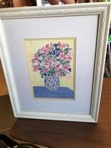 Wall Hanging Framed Art Flower Vase With Arrangement On Table - $18.75