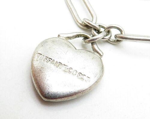 925 Silver - Vintage White Cubic Zirconia Love Heart Charms Chain Bracelet B3817