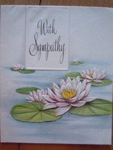 Vintage With Sympathy Embossed Lilly Pads Greetings Inc Card - $3.99