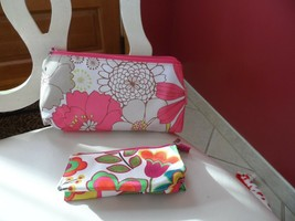 2 Beautiful  pink floral cosmetic bags by Clinique - $7.25