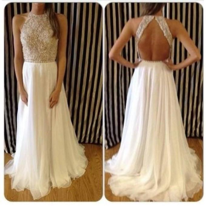 backless long white chiffon prom dress,beaded evening gown,BD915