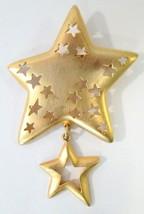 Casual Corner Gold Tone Cut Out Star Brooch w/ Star Charm Brooch - $12.99