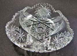 American Brilliant Period Cut Glass triangle dish Antique abp - $45.47