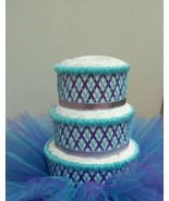 Aqua and Purple Mermaid Themed Baby Girl Shower 3 Tier Tutu Diaper Cake ... - $50.00