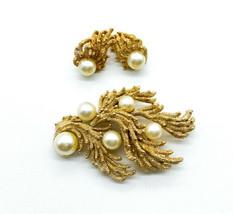 Vintage Crown Trifari Gold Tone Coral Branch Faux Pearl Brooch Earrings Set - $152.99