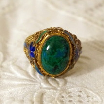 Antique Vintage Chinese Enamel Gilt Silver Filigree Chrysocolla Cabochon... - $210.00