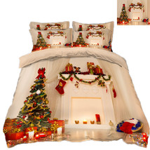 3D Christmas  Xmas 1112 Bed Pillowcases Quilt Duvet Cover Set Single Queen King - $90.04+