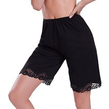 Ilusion Women's Classic Trouser Pants Half Slip with Lace Trim 2637 (XL, Black)