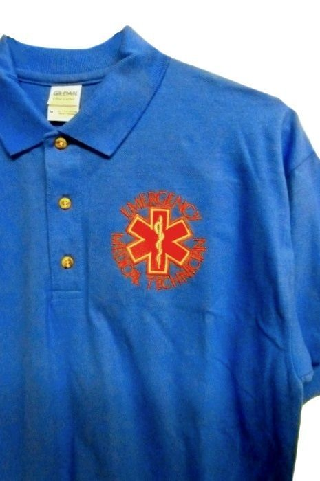 EMT Emergency Medical Technician S Star of Life Royal Blue Gold S/S Polo Shirt