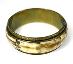 Vintage Inlay Bovine Bone & Brass Rivet Fashion Costume Jewelry Bangle B... - $17.44