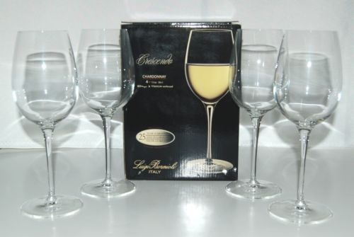 Luigi Bormiolo 0962605 Cresendo Chardonnay Crystal Wine Glasses Set of 4